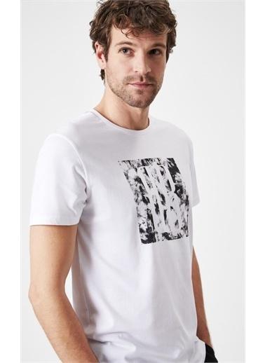 Boris Becker Slim Fit Baskılı T-shirt Beyaz